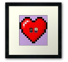 """Love in 8-bit"": Britta and Troy (Style A) Framed Print"