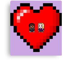 """Love in 8-bit"": Britta and Troy (Style A) Canvas Print"