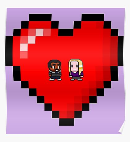 """""""Love in 8-bit"""": Britta and Troy (Style A) Poster"""