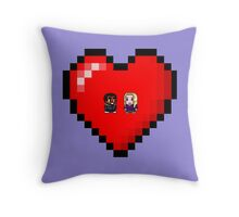 """Love in 8-bit"": Britta and Troy (Style A) Throw Pillow"