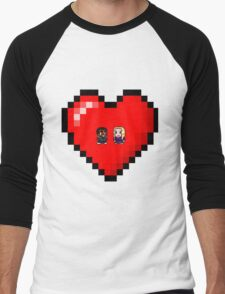 """""""Love in 8-bit"""": Britta and Troy (Style A) Men's Baseball ¾ T-Shirt"""