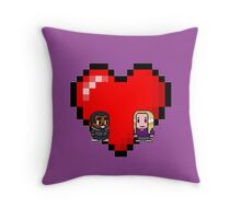 """Love in 8-bit"": Britta and Troy (Style B) Throw Pillow"