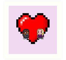 """Love in 8-bit"": Britta and Troy (Style B) Art Print"