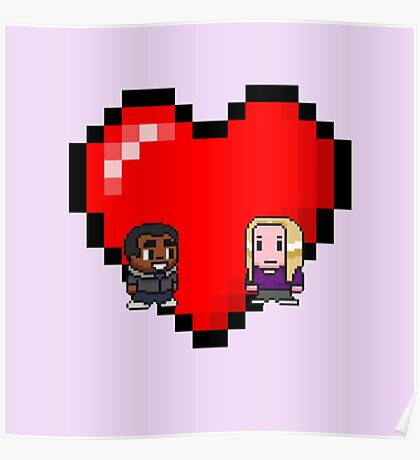 """""""Love in 8-bit"""": Britta and Troy (Style B) Poster"""