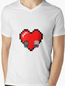 """""""Love in 8-bit"""": Britta and Troy (Style B) Mens V-Neck T-Shirt"""
