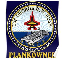 USS George H.W. Bush Plankowner Crest for Dark Colors Poster