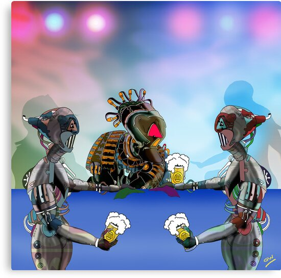 Robot Warrior Bar Scene.. by Grant Wilson