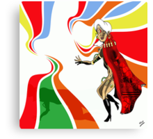 Robot Femme Fatale in Red Cloak.. Canvas Print