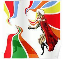 Robot Femme Fatale in Red Cloak.. Poster