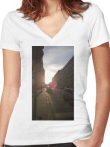 Vienna Sunset Women's Fitted V-Neck T-Shirt