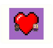 """""""Love in 8-bit"""": Britta and Troy (Style C) Art Print"""