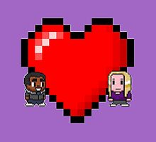 """Love in 8-bit"": Britta and Troy (Style C) by oncenfuturekiki"