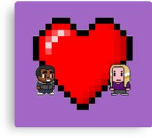"""Love in 8-bit"": Britta and Troy (Style C) Canvas Print"