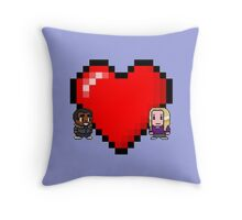 """Love in 8-bit"": Britta and Troy (Style C) Throw Pillow"