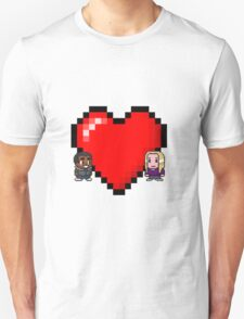 """""""Love in 8-bit"""": Britta and Troy (Style C) Unisex T-Shirt"""