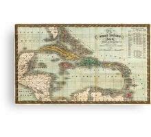 Vintage Map of The Caribbean (1834) Canvas Print