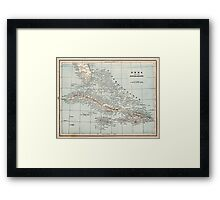 Vintage Map of The Caribbean (1893) Framed Print