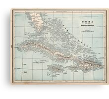 Vintage Map of The Caribbean (1893) Canvas Print