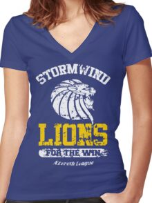 Lions For The Win!! Women's Fitted V-Neck T-Shirt