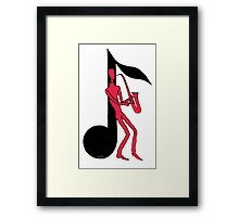 Saxophone Playing Man pen ink red and black drawing Framed Print