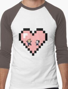 """""""Love in 8-bit"""": Jeff and Annie (Style D) Men's Baseball ¾ T-Shirt"""