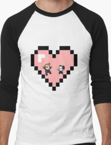 """Love in 8-bit"": Jeff and Annie (Style D) Men's Baseball ¾ T-Shirt"