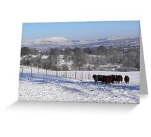 Snow over Pendle Greeting Card