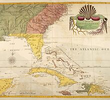 Vintage Map of The Caribbean (1754) by BravuraMedia
