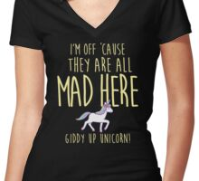 Giddy up unicorn!! Women's Fitted V-Neck T-Shirt