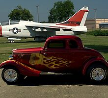 1934 Ford Coupe and Air force A-7 Corsair II Jet Plane by TeeMack