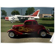1934 Ford Coupe and Air force A-7 Corsair II Jet Plane Poster