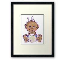 Cute Baby in Diaper Framed Print