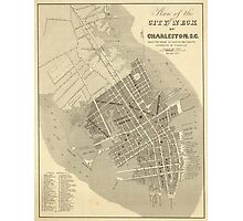 Vintage Map of Charleston South Carolina (1844) Photographic Print