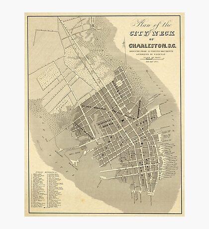 Vintage Map of Charleston South Carolina (1844) Photographic Print