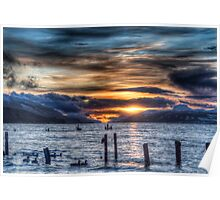Sun going down over Loch Ness Poster