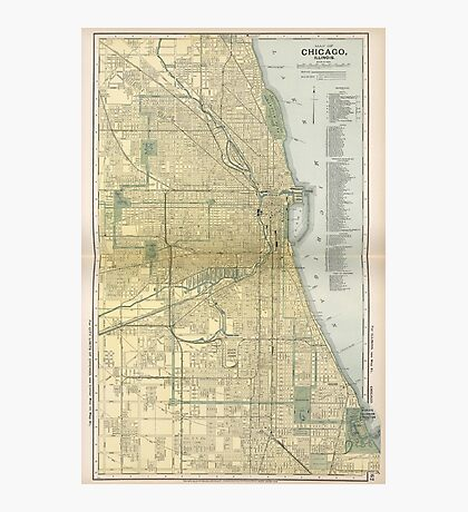Vintage Map of Chicago (1891) Photographic Print