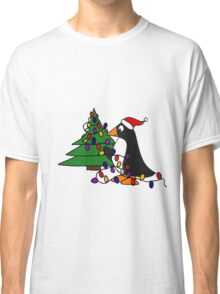 Funny Cool Penguin Putting Christmas Lights on Tree Classic T-Shirt