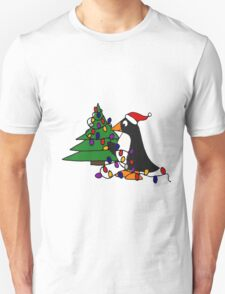 Funny Cool Penguin Putting Christmas Lights on Tree T-Shirt