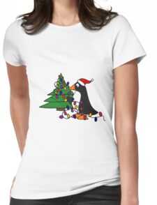 Funny Cool Penguin Putting Christmas Lights on Tree Womens Fitted T-Shirt