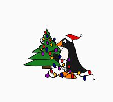 Funny Cool Penguin Putting Christmas Lights on Tree Unisex T-Shirt