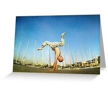 Handstand, inverted Yoga asana in Barcelona Greeting Card