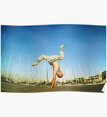 Handstand, inverted Yoga asana in Barcelona Poster