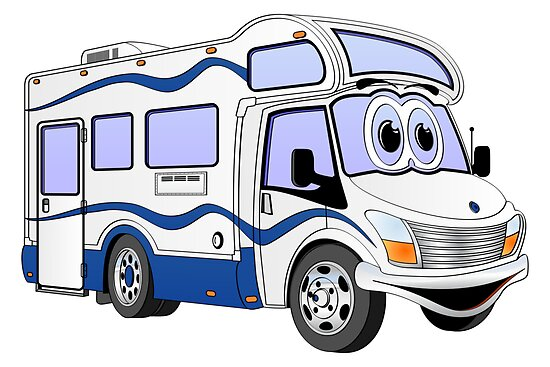 Blue Camper Cartoon by Graphxpro