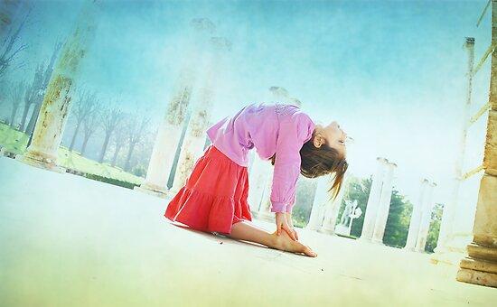 Ustrasana, Yoga in the beach, Barcelona  by Wari Om  Yoga Photography