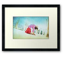 Ustrasana, Yoga in the beach, Barcelona  Framed Print