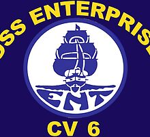 USS Enterprise CV-6 Crest for Dark Colors by Spacestuffplus