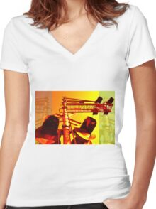 Rail Stop Women's Fitted V-Neck T-Shirt