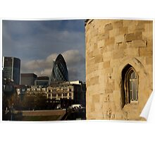 The Tower of London with Modern building in the background  Poster