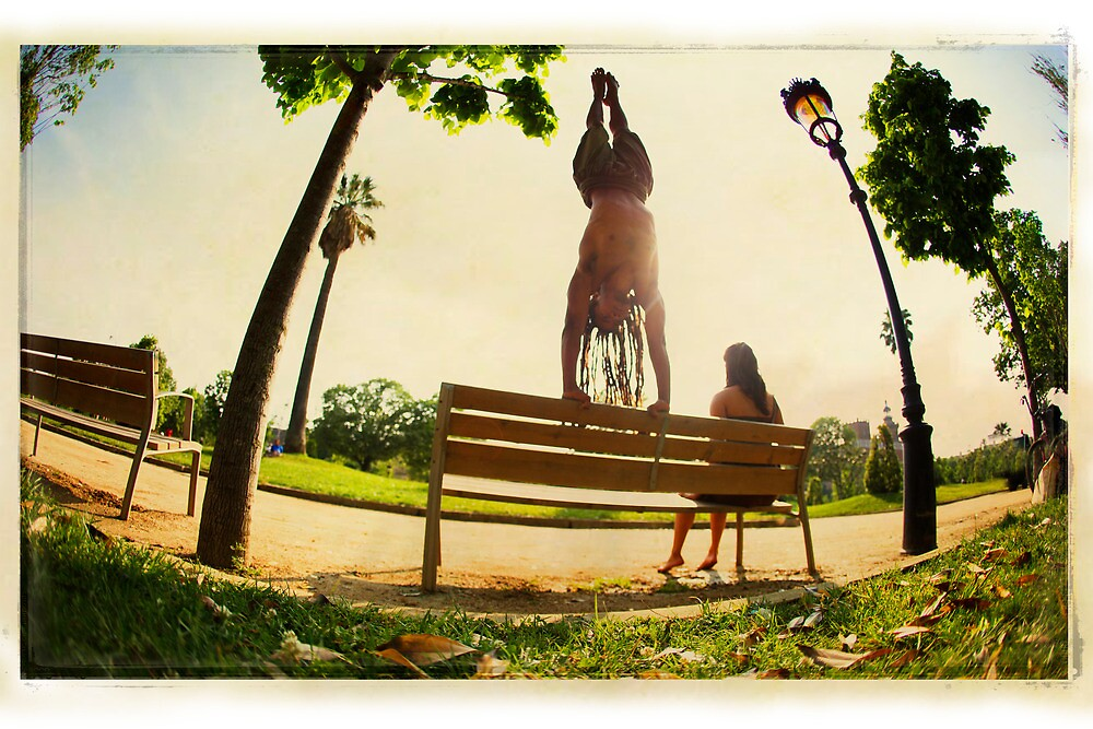 Handstand in the bench, Yoga in the park  by Wari Om  Yoga Photography