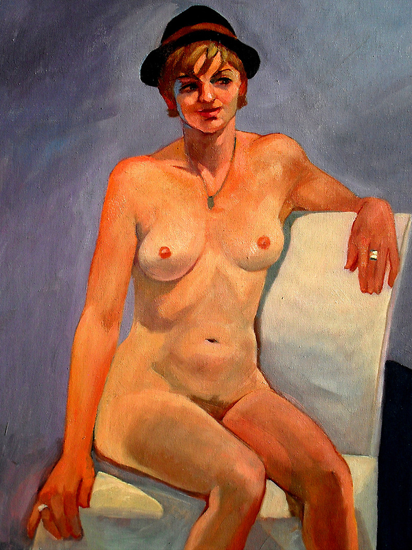 Nude with hat by Guntis Jansons